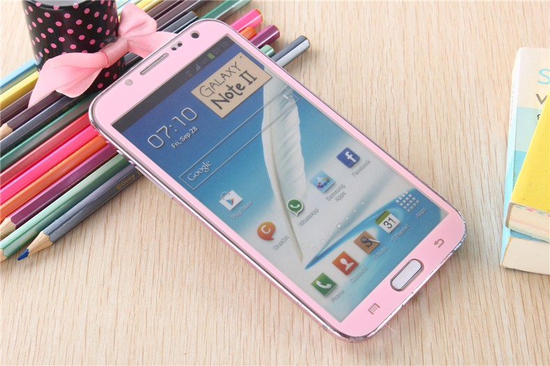Samsung Galaxy Note 2 Colored Tempered Glass-Pink